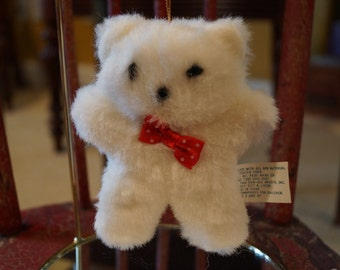 Vintage Christmas Ornament, Fluffy White Christmas Bear, 1980s
