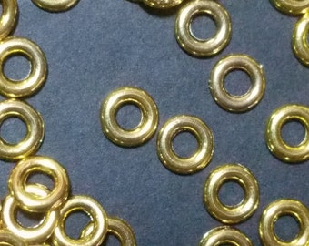 Tibetan Silver Beads, Round Ring, Lead Free, Cadmium Free and Nickel Free, Antique Golden, about 8mm in diameter, 1.5mm thick Hole 4mm   099