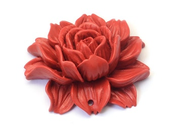 Cinnabar Flower Link / Pendant - Carved  Lacquerware - Beautiful Acrylic - Asian Heritage - Fire Brick Red, 39~40x46x16mm, Holes 2mm   110