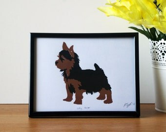 Silky Terrier Dog Hand Pulled Screen Print - A5 - 210x148mm - Print Only