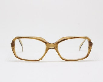 Original 60s French transluscent brown glasses by Ballade. Designer, spectacles, frames, clear lens, optical, specs, eyeglasses