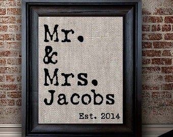 Cotton Anniversary Gift Ideas    2 Year Anniversary Present   Two Anniversary Gift   Mr. and Mrs. Print   Newly Married Gift