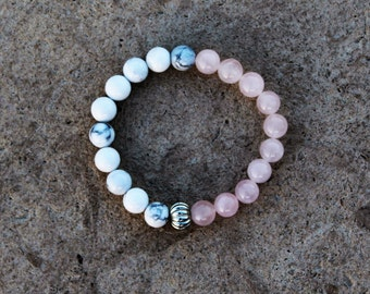 Rose Quartz and White Howlite Gemstone Bracelet