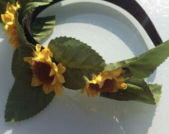 Sunflower & leaf festival flower hairband