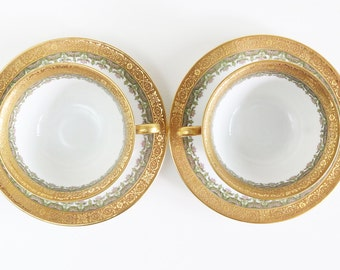 Double Handle Soup Cups - Limoges  Bouillon Cups And Saucers - French Soup Bowls - Soup Bowls With Handles - Gold Cups - Limoges China