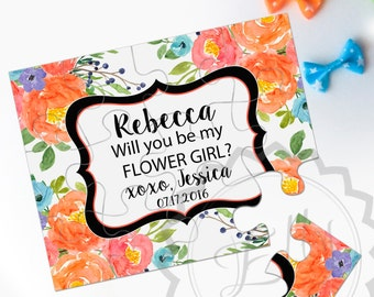 Asking Flower Girl Proposal Puzzle - Will you be my flower girl puzzle, Flower Girl, Puzzle Cart, Bride Tribe, Unique Jigsaw Puzzle