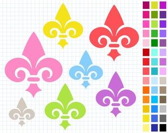 Fleur De Lis Digital Clip Art Pack, Rainbow Fleur-de-lis Clipart, 43 Clip Art, Illustration, Personal And Commercial Use - Instant Download