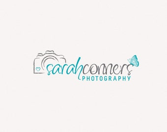 Photography logo - premade logo design - Photography Watermark - Camera logo butterfly logo Instant download digital download psd file