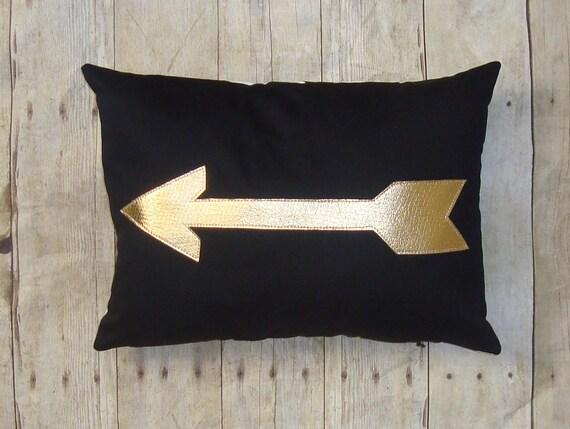 Arrow Pillow - Cover -  Gold Arrow -  Metallic Arrow - Golden Arrow - Gold decor - decorative pillow - gift for archer - archery pillow