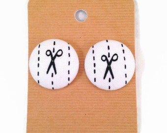 Scissors & Dotted Line Fabric Covered Button Earrings