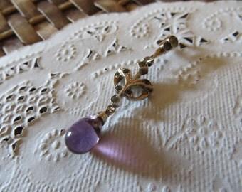 Antique Purple Quartz Dainty Lavaliere Sterling Silver Victorian Pendant