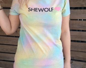 SALE UNTIL 8/24/16 Pastel Rainbow Tie Dye Shewolf Graphic Tee