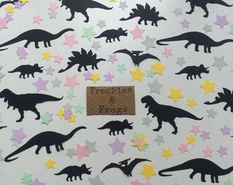 Dinosaurs & Stars Table Confetti Black/Pastels Birthday Party Dinosaur Theme