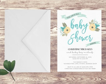Printed Baby Shower Invitation, Baby Shower Invite, Birth Announcement, Couples Baby Shower Invitation, Couples Baby Sprinkle Invitation