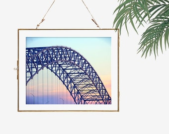 Memphis skyline Memphis art bridge photograph urban photo Memphis print poster Tennessee sunset art blue orange pink grey architecture photo