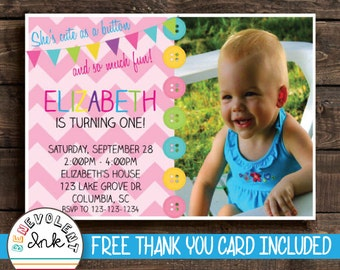 Cute as a Button First Birthday Invitation - Printable 1st Birthday Party Invite with FREE Thank You Card
