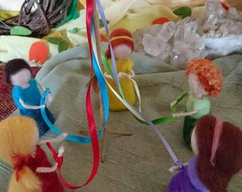 Needle felted Waldorf inspired Maypole with children