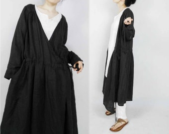 421-Linen Wrap Dress / Coat / Jacket, Dark Gray Linen Twill Outerwear.