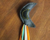 Children's Felt Wand, Gray and Black Crescent Moon with tri-color ribbons