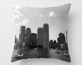 Boston Skyline, Pillow Cover,6 sizes,home decoration, black and white, modern, Accent Pillow, Skyline, Architectural Decor, Buildings,Habor