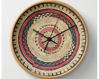 African Art — Round Wall Clock Featuring the Design of a Hausa Basket