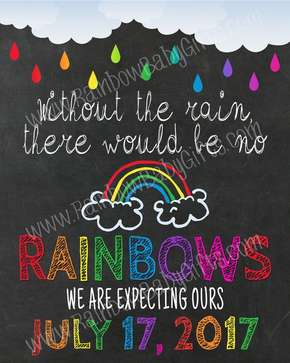 Without The Rain There Would Be No Rainbows - Rainbow Baby Pregnancy Announcement Chalkboard Sign