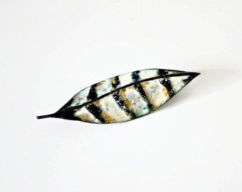 1950s Vintage Brooch Copper Leaf Feather Pin with Hand Painted Enamel Hand Crafted Mid Century Eames Era Copper
