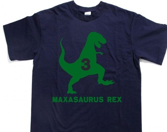 T-REX Dinosaur Birthday shirt with age and Personalized with child's name Kid's t-shirt tee shirt t shirt, many other color choices!
