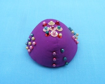 Purple Pincushion with Decorative Pins