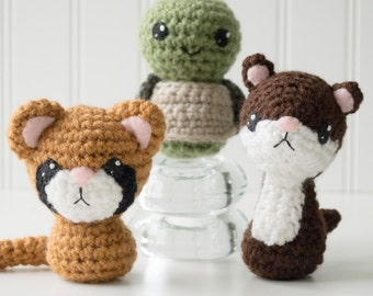 Backyard Critters 5 Amigurumi Pattern - Turtle Pattern - Crochet Turtle Pattern - Amigurumi Weasel Pattern - Cougar, Turtle, Weasel