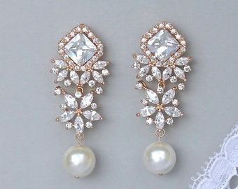 Rose Gold Crystal Earrings, Crystal & Ivory Pearl Bridal Earrings, Pink Gold Chandelier Wedding Earrings, JAZZ RG