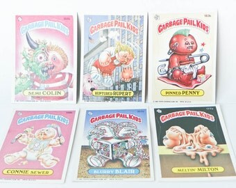 Six Garbage Pail Kids Cards - Vtg Topps GPK Stickers 1986 - Semi Colin Ruptured Rupert Pinned Penny Meltin Milton Blurry Blair Connie Sewer