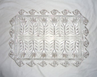 """Fifth Avenue Lead Crystal """"Portico"""" Divided Relish Dish Tray"""