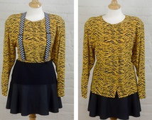 Animal Print Blouse, Yellow Animal Print Shirt, Long Sleeve Blouse, Secretary Blouse, Silk Shirt, 80s Plus Size Blouse, Size 14