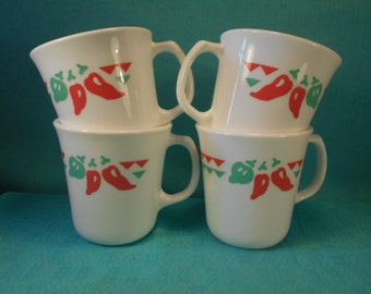 Vintage Corning Mugs In The Fiesta Pattern- Set Of 4, Excellent condition- Festive Chili Pepper MUgs