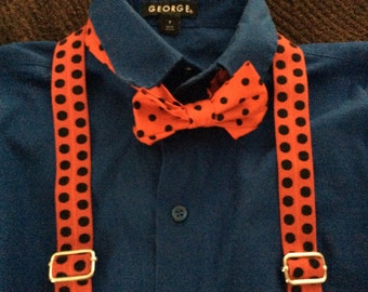 Boys Bow tie and Suspender Set Black Red Polkadots