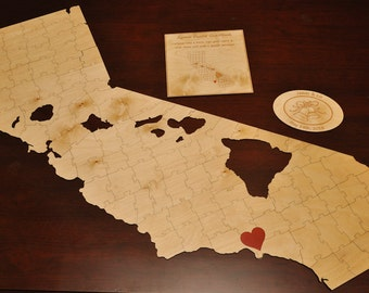 Wedding Puzzle Guest Book - State or Island Country Cut-Away *NAKED/NATURAL FINISH*