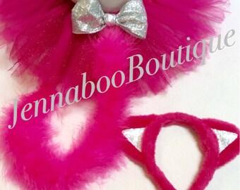 Cat costume, pink cat costume, baby cat costume, adult cat costume, halloween cat costume, pink cat tutu, pink cat ears, cat ear headband