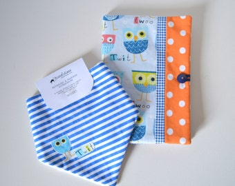 Cover for Pediatric booklet + bib in matching bandana-owls