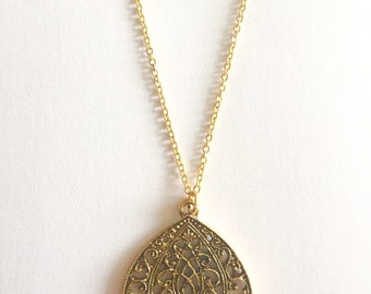 Ornate Filigree Teardrop gold charm pendant necklace