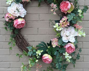 Coral Cabbage Rose Wreath