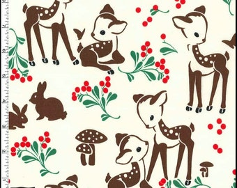 Fawn Memories Fabric from the Studio Christmas Collection by Michael Miller Fabric - Vintage look, Retro