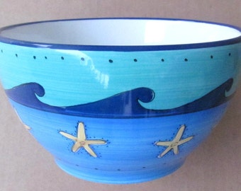 Brushes K.I.C. Hand Painted, Large Cereal Bowl Blue Green Ocean Seaside Collection Stonemite