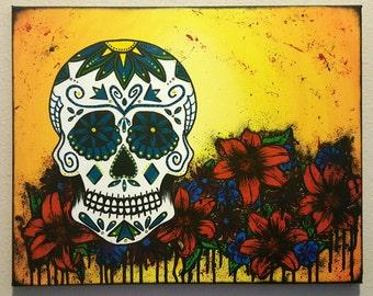 Sugarskull painting, sugar skull painting, acrylic painting, sugar skull decor, sugarskull decor, sugarskull canvas, canvas painting
