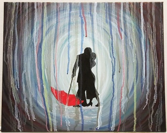 Acrylic Painting, abstract art, acrylic canvas painting, drip painting, silhouette painting, canvas art, home decor painting, wall hanging