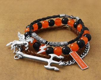 Camp Half Blood Bracelet, Fandom Bracelet, Poseidon Trident Bracelet, Fandom Jewelry, Camp Half-Blood, Pegasus Charm, Geekery, Cosplay