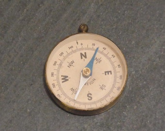 Vintage Brass Pocket Compass  circa 1930s