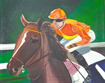 "Original Acrylic  Animal/Horse/Racing Painting on Canvas  Titled ""Post Position"" 16"" X 20 """