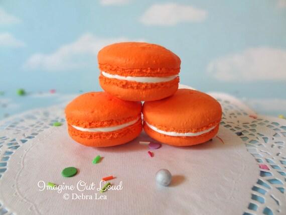 FAUX MACARON Set Pumpkin Orange Artificial Food Prop