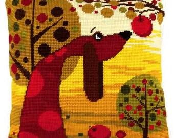 Dachshund pillowcase cross-stitch DIY embroidery kit craft set Badger dog